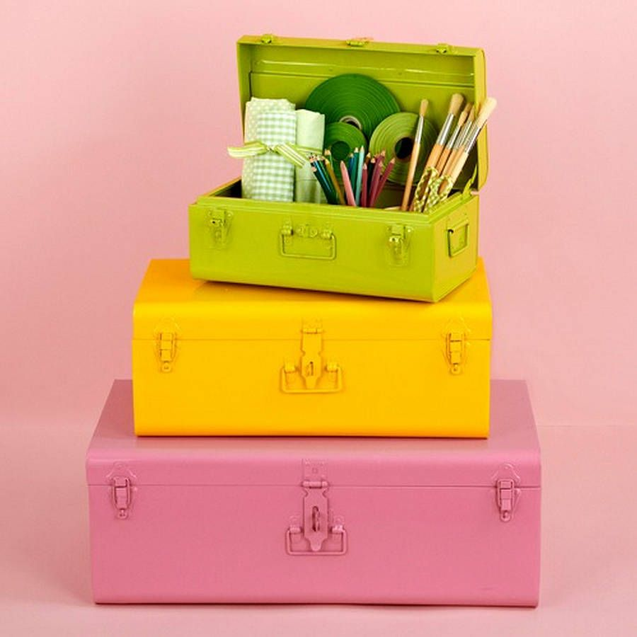 Brightly coloured metal storage trunks by little ella james ...