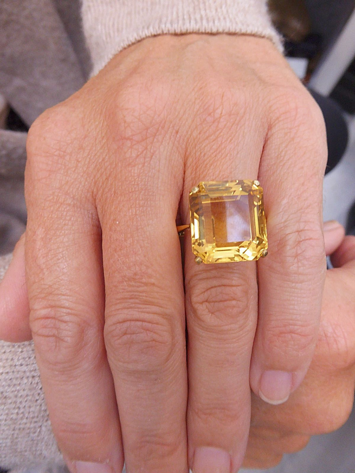 Raw Gemstone Ring Citrine Ring Yellow Citrine Adustable Silver Band
