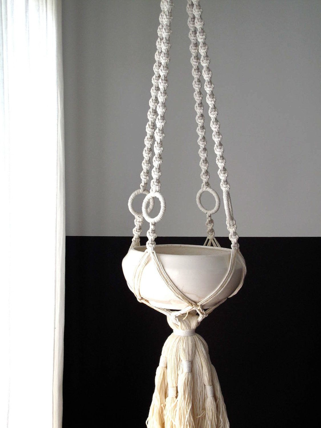 Vintage Hanging Planter - Vintage Macrame and Ceramic Planter, White, Pottery. $185.00, via Etsy.