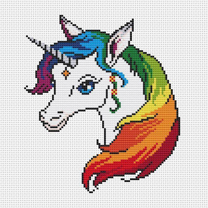 Resultado de imagen para free printable unicorn cross stitch ...