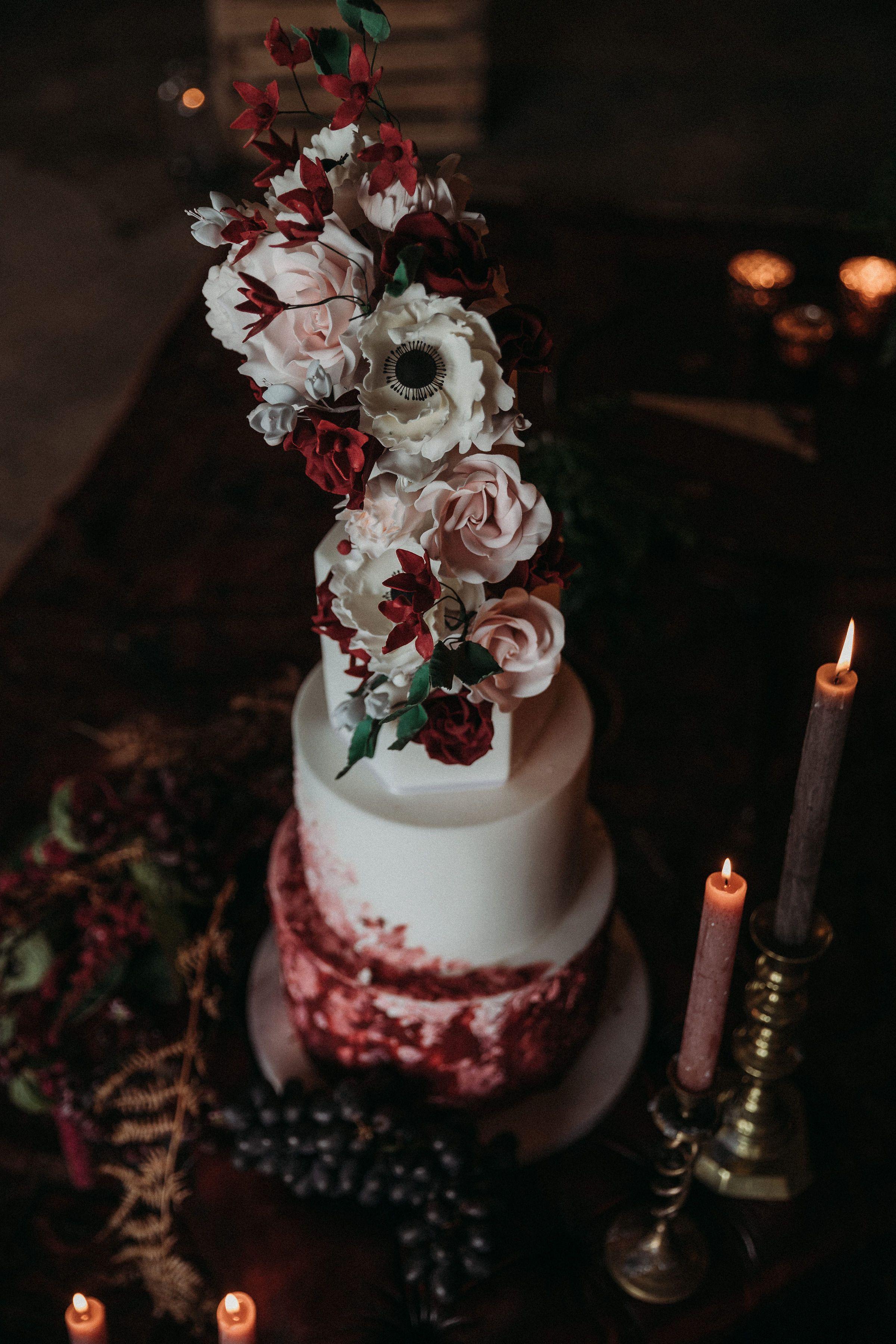 Painted watercolour buttercream palette knife wedding cake