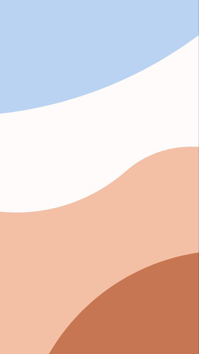 Aesthetic blue, peach + brown wallpaper iOS 21   Wallpaper iphone ...