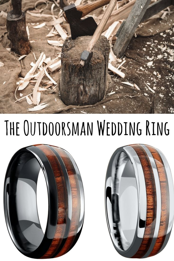 Mens Wood Wedding Rings A Ring For The Outdoorsman These Unique Are Inlaid With Real Koa Waterproof And Durable