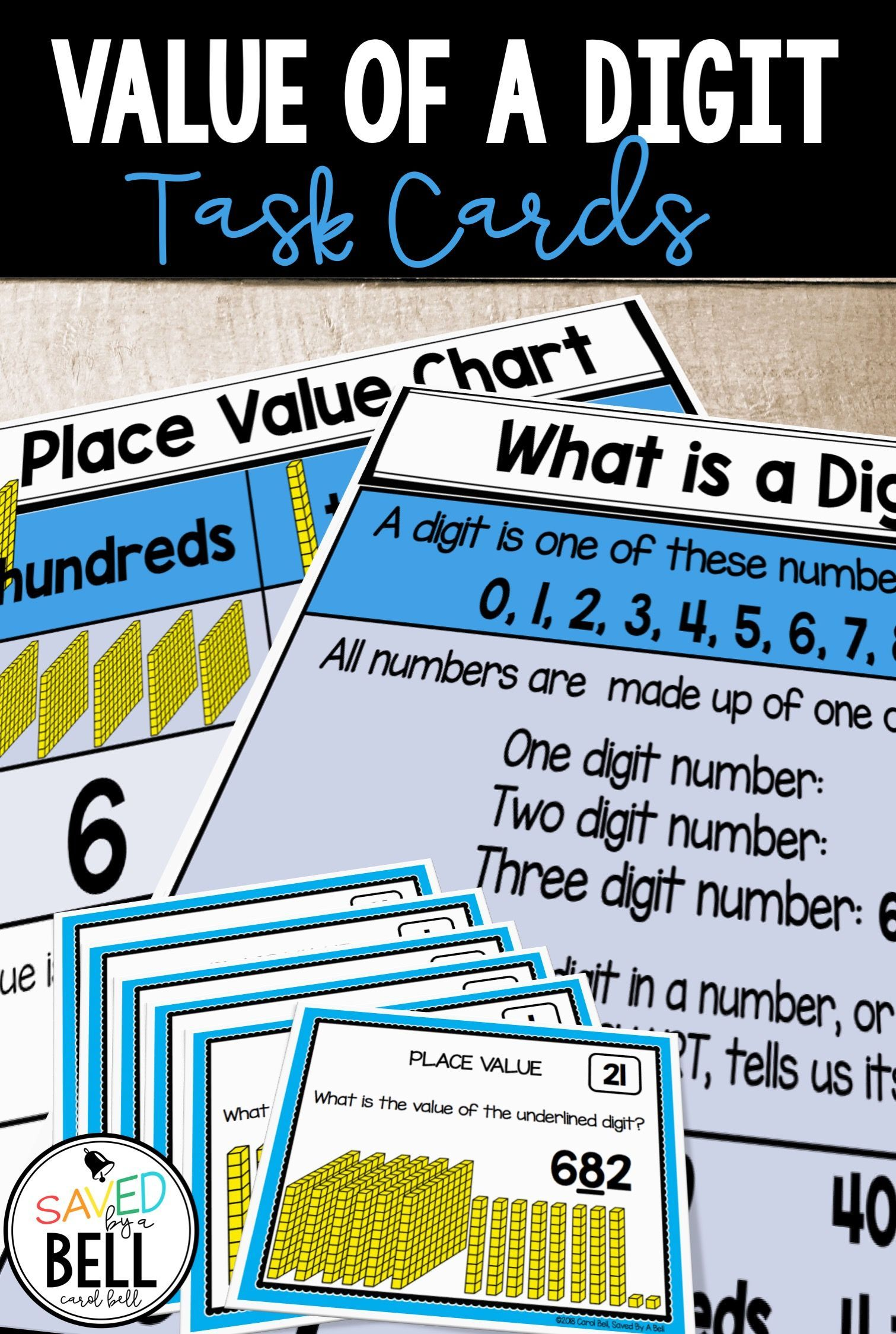 Place Value Task Cards Value Of A Digit Task Cards Task Card Activities Place Values