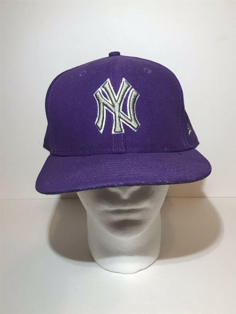 ccecc9921f26a New York Yankees Fitted Hat New Era 59fifty Baseball Cap Sz 8 Purple MLB