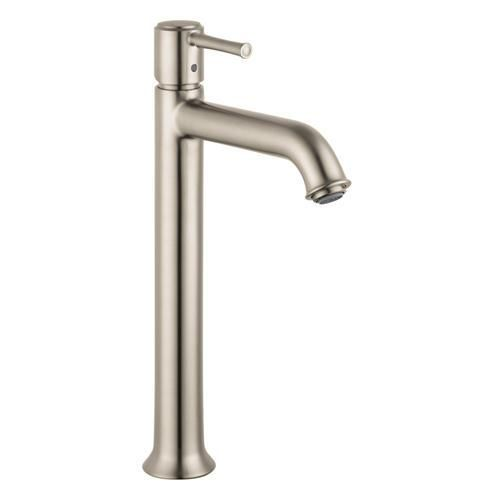 Hansgrohe 14116821 Talis C Single Hole Bathroom Sink Faucet Tall, Nickel. Featuring a single-handle setup, this Hansgrohe Talis C Single Hole 1-Handle Mid-Arc Bathroom Faucet in Brushed Nickel can be adjusted with ease and rises to the occasion thanks to its mid-arc spout design. Ceramic disc cartr.. . See More Bathroom Sink Faucets at http://www.ourgreatshop.com/Bathroom-Sink-Faucets-C223.aspx