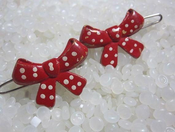 Vintage barrette red polka dot bow rare pair by rosebudcottage