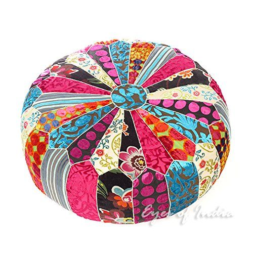 Eyes Of India 20 X 8 Small Round Colorful Velvet Ottoman