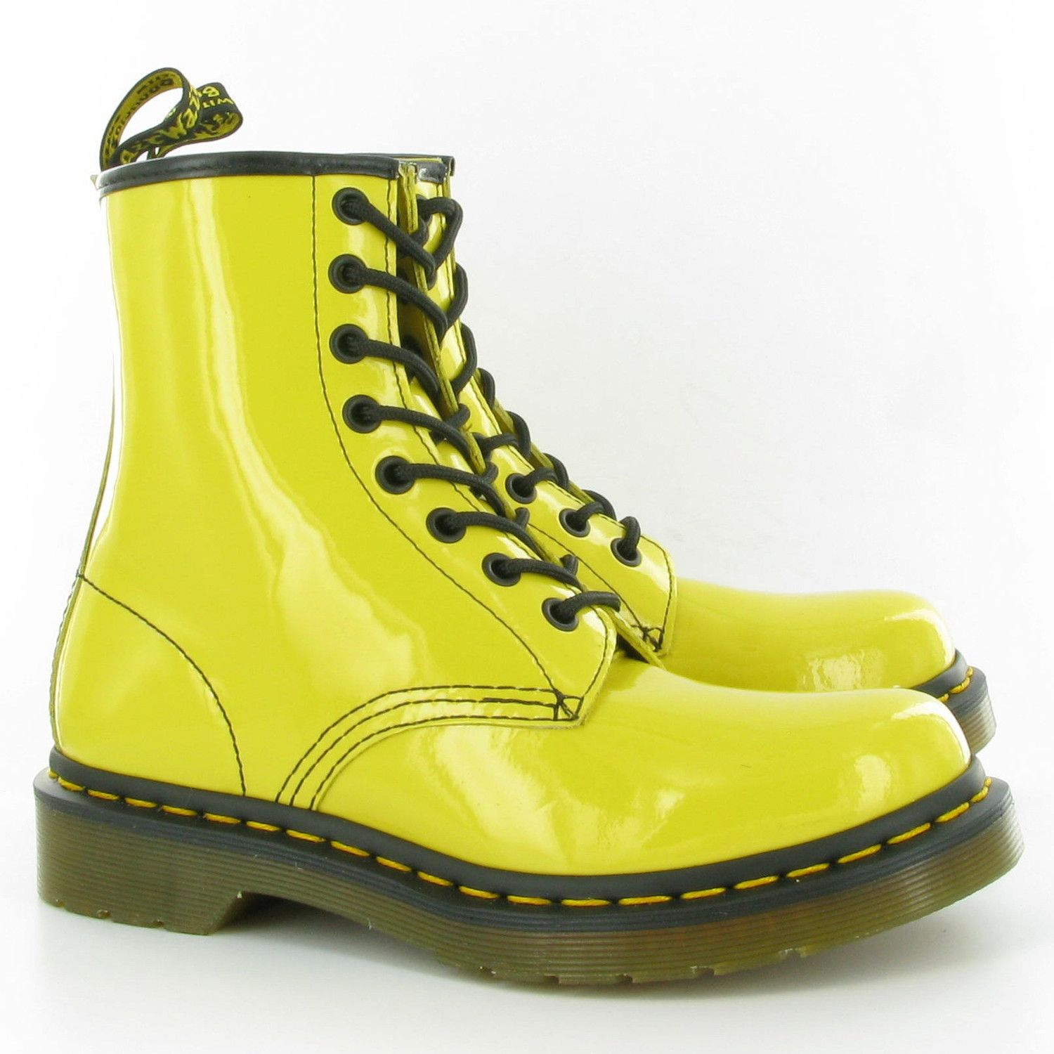 Dr Martens Leather 1460 Patent Lamper 8 Eyelet Boots In Yellow Patent Boots Martens Dr Martens