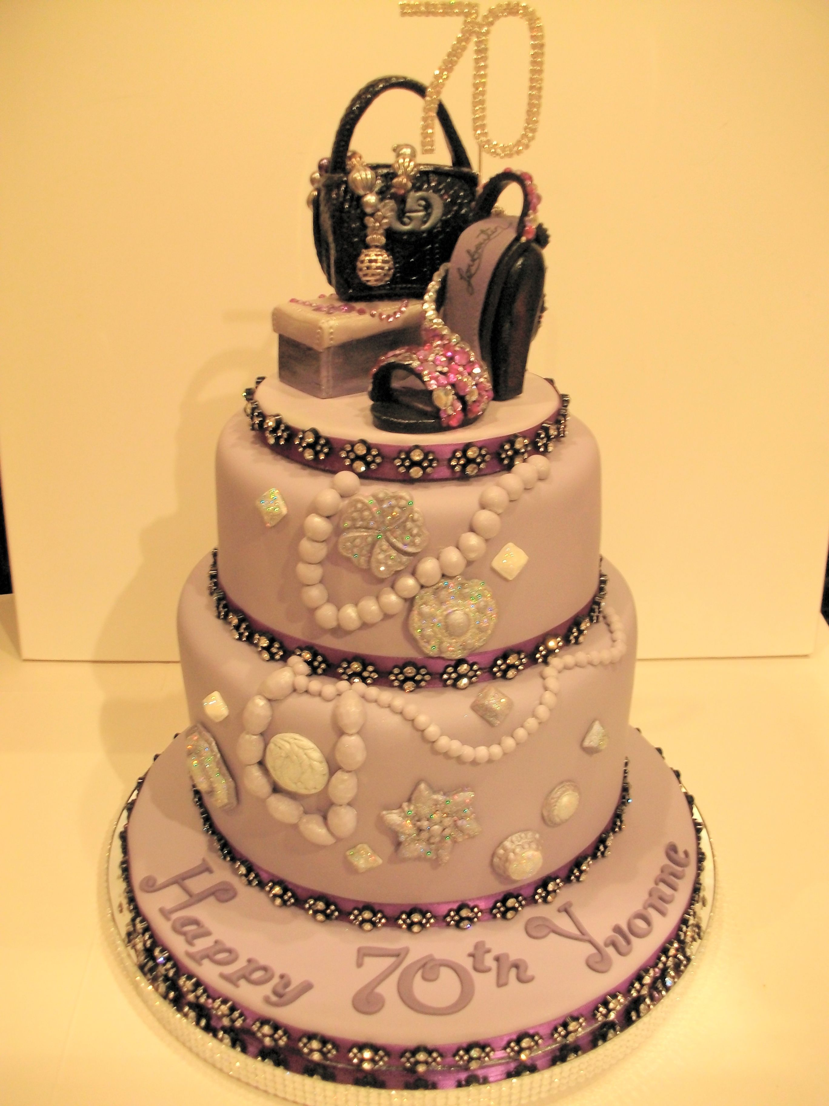 Diamant Shoe And Designer Bag 70th Birthday Cake Decorated With