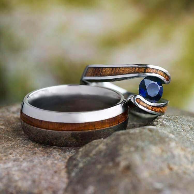 Hawaiian wood ring set titanium wedding rings with koa