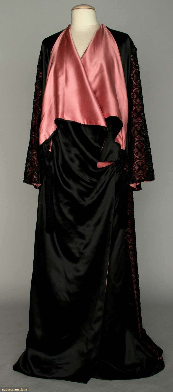 Augusta Auctions: silk satin evening coat, paris, black w/ raspberry charmeuse lining, embroidered net lace bands on shoulders, sleeves & sides of coat- 1910-1915