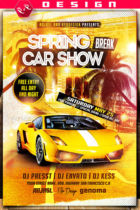 Spring Break Car Show Flyer On Behance  Show    Edit