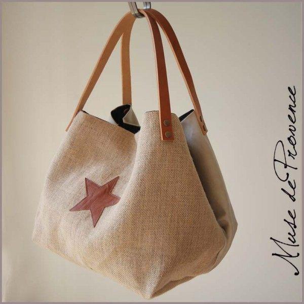 sac cabas fait main en jute naturel 2 sacs mains pinterest couture sac sac cabas et sac. Black Bedroom Furniture Sets. Home Design Ideas