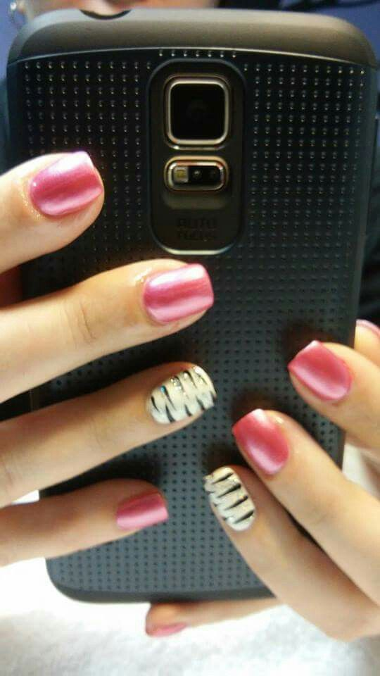 Pink with black, white and silver