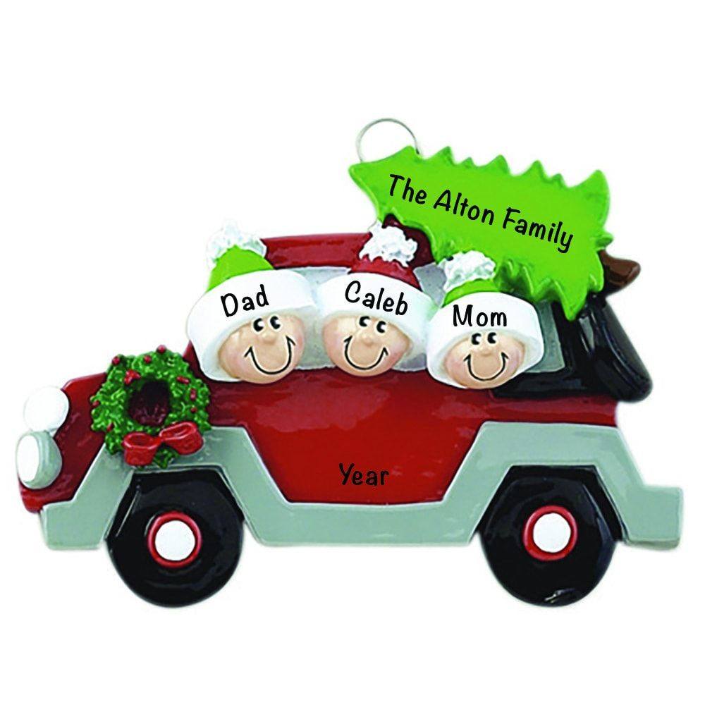 Christmas Tree Car Family of 3 Personalized Ornament ...