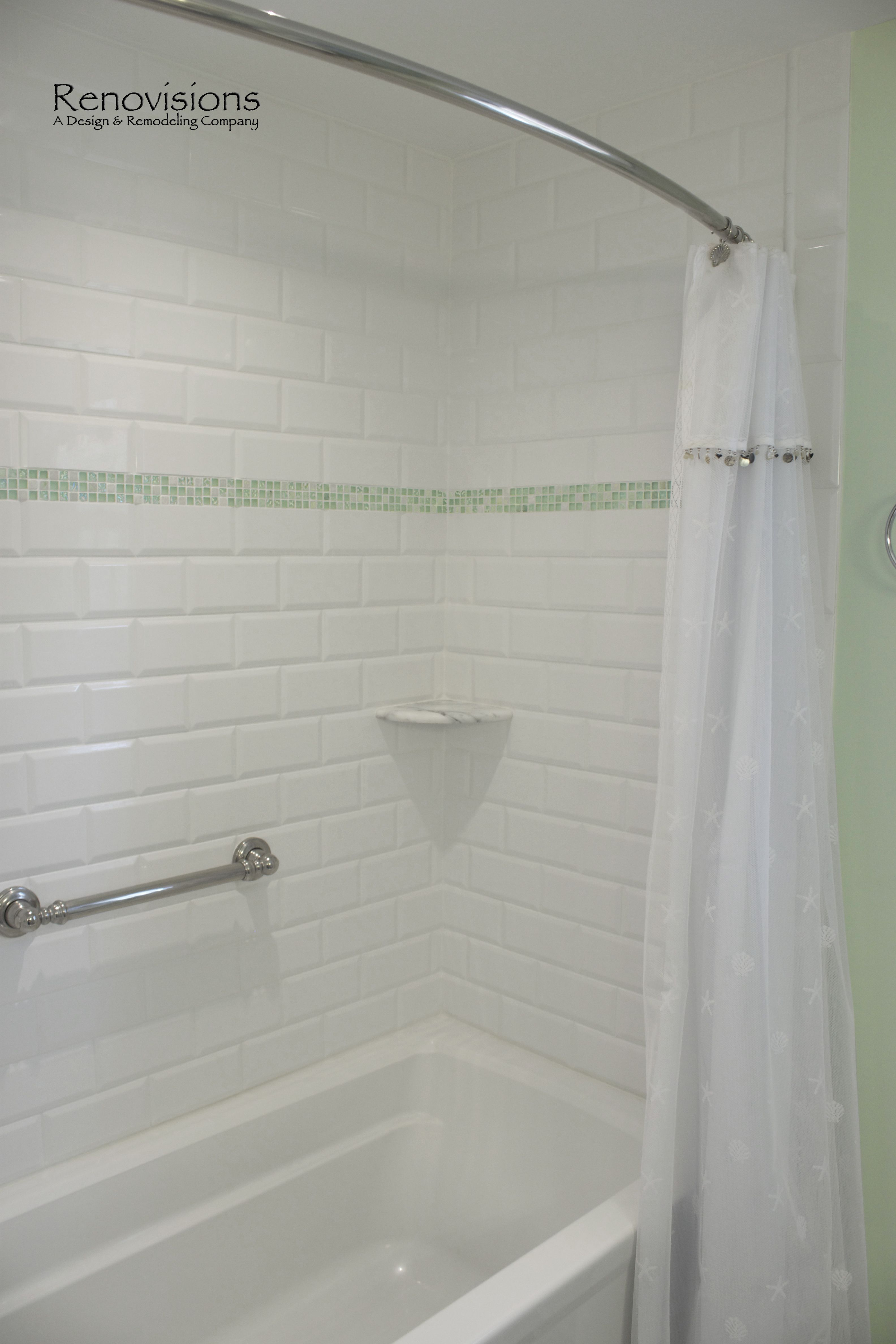 Bathroom Remodel By Renovisions Beveled Subway Tile Decorative Sea Gl Border Curved Shower Rod