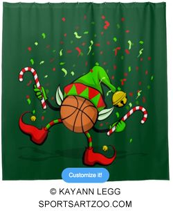 Basketball Dancing Christmas Elf Shower Curtain By SportsArtZoo Decoration
