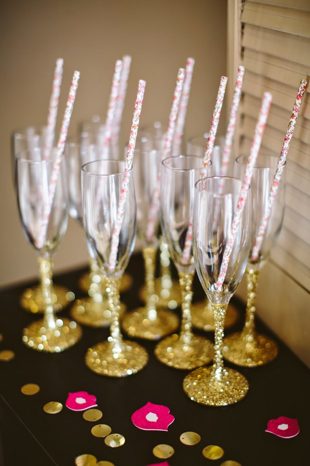 Glitter themed bachelorette party Glitter dipped champagne