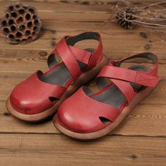 9c036511f85 High-quality SOCOFY Candy Color Hook Loop Leather Retro Platform Sandals -  NewChic Mobile