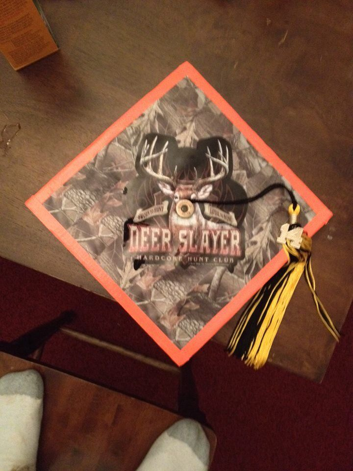 This is a camo graduation cap done with camo and safety orange ...
