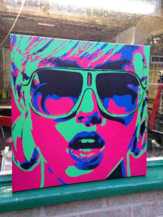 Pop art woman painting canvas stencil art spray paint art sunglasses stars earings abstract portrait girl her home living artwork design pop #spraypainting