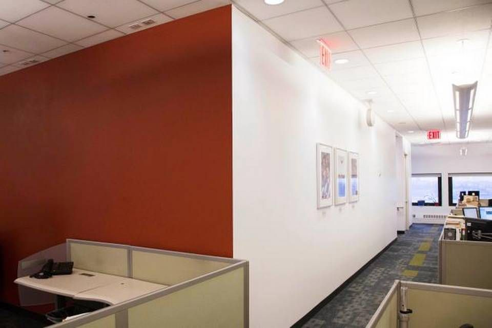 A marsala-colored wall decorates office space at The Associated Press, in New York. Sélection Pantone 2015 Marsala : Blog Univers Créatifs. #Marsala #Pantone