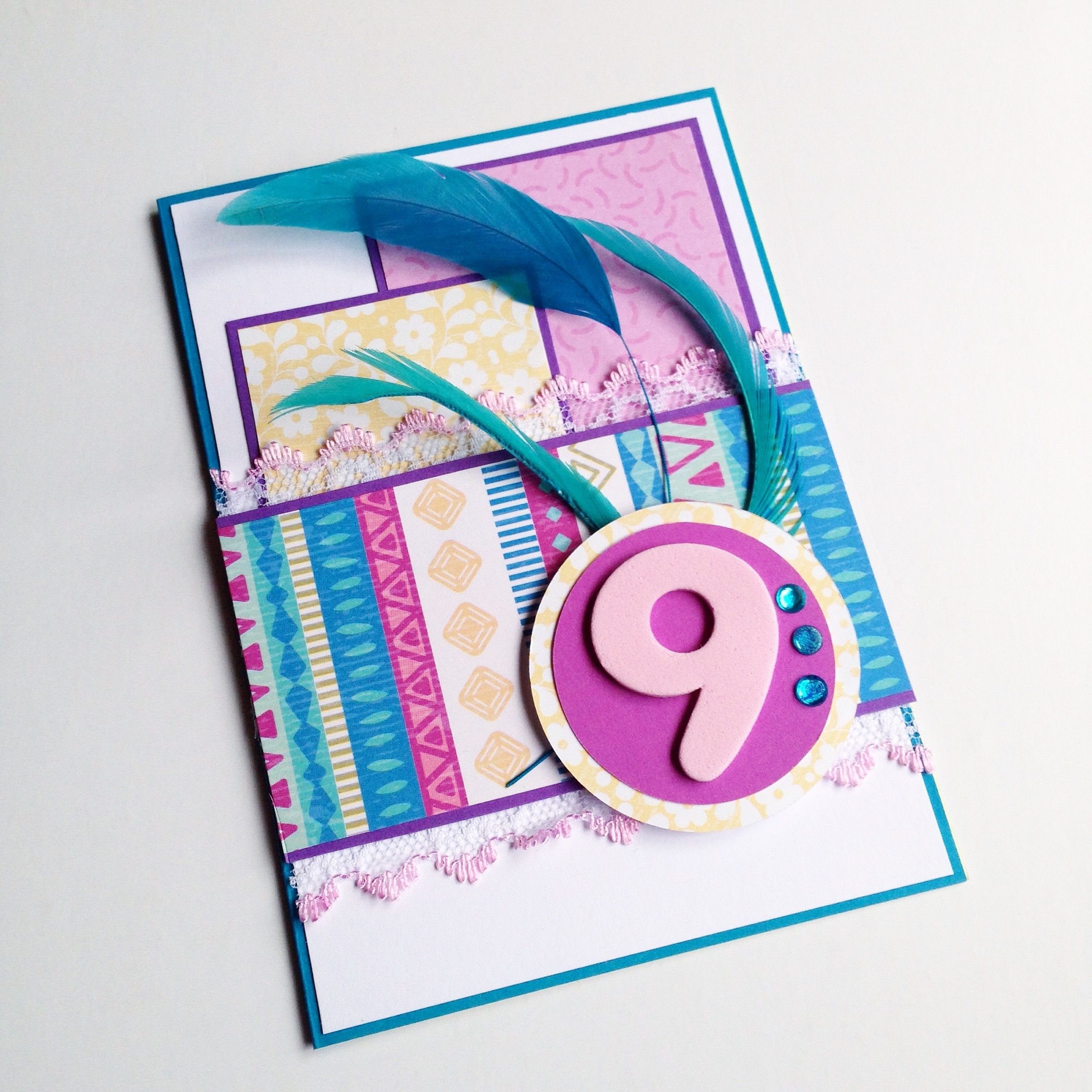 Feathers and stripes birthday card for a 9 year old girl Made for