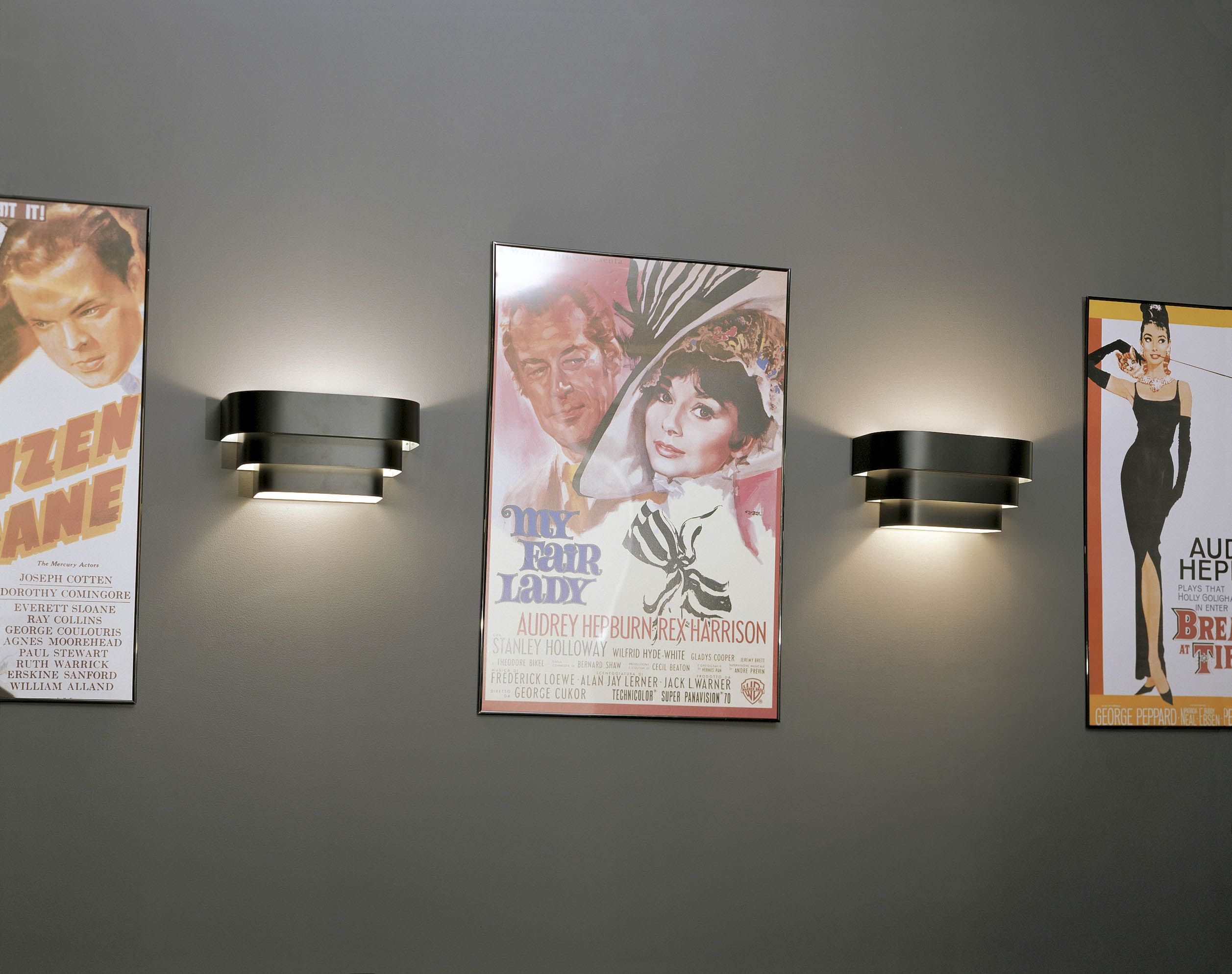 Wall Sconces Theater Lighting : Progress Black Stepped Sconce Wall Light Art deco style