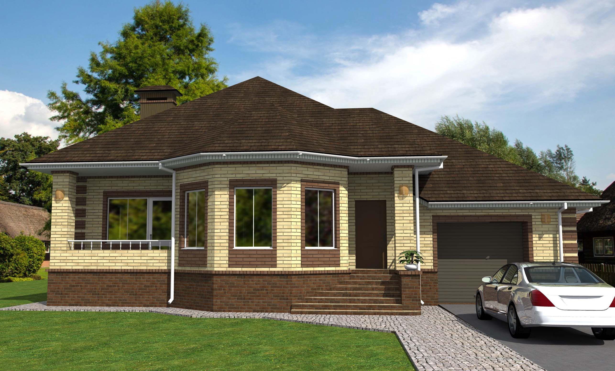 Проект одноэтажного дома с подвалом и гаражом (с ...