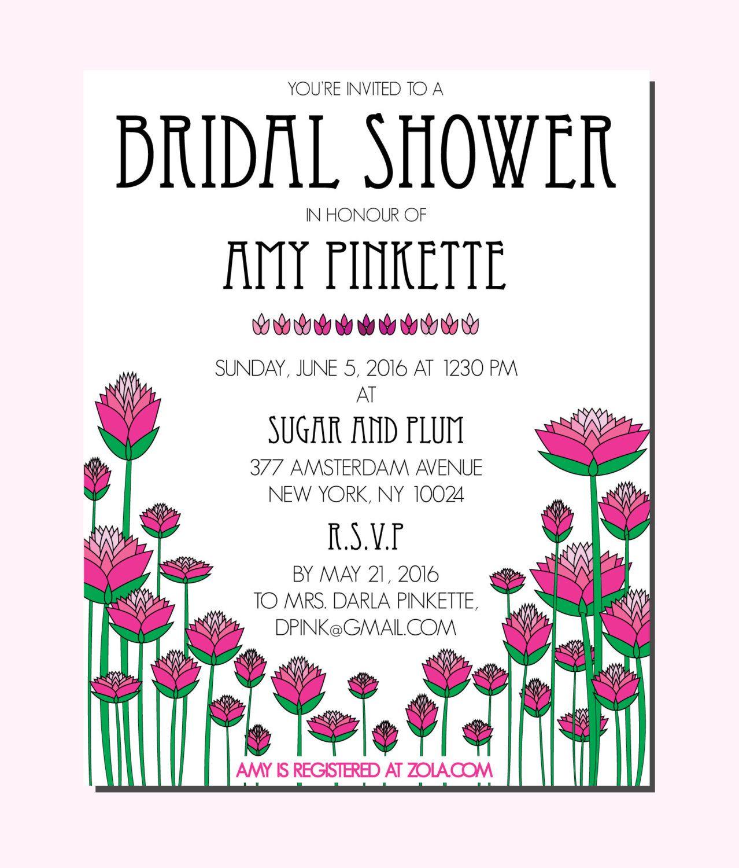 Art deco bridal shower invitation pink flowers 12 invites by art deco bridal shower invitation pink flowers 12 invites by papermadebymariak on etsy https filmwisefo Gallery