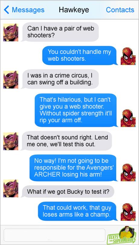 Hawkeye, Spiderman, Bucky
