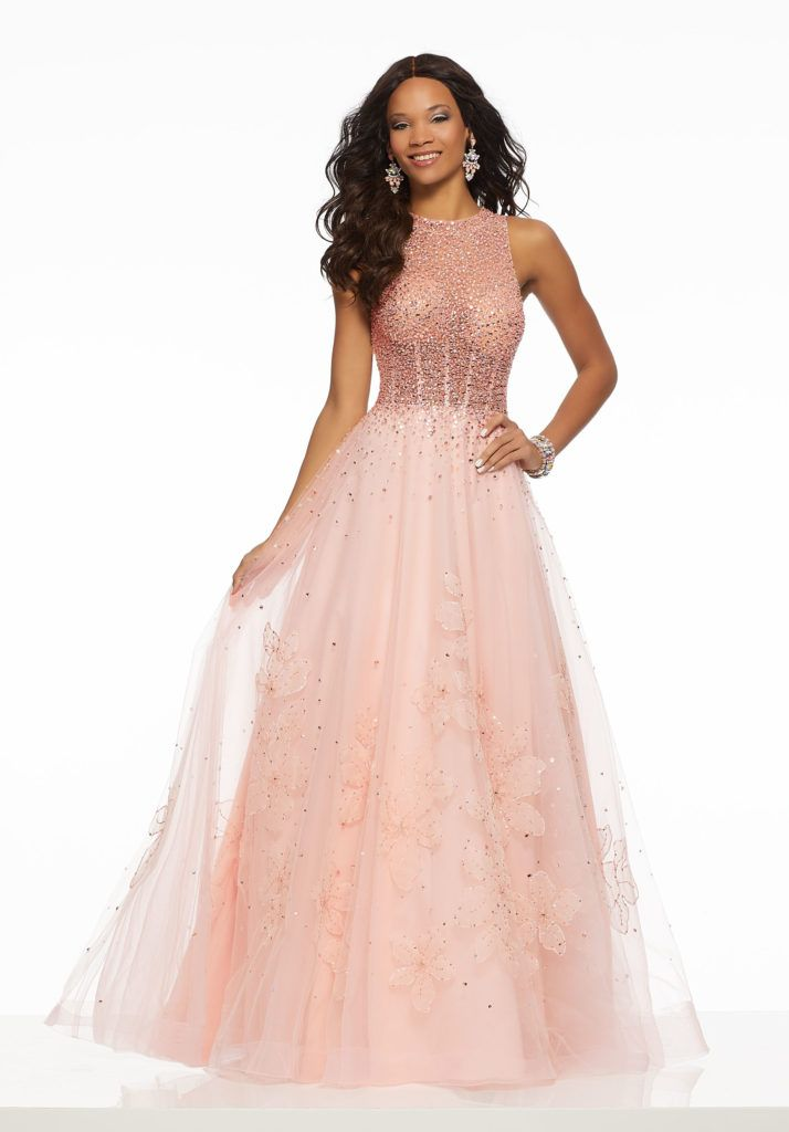 cca38738d8a Soft Net Prom Gown with Sheer