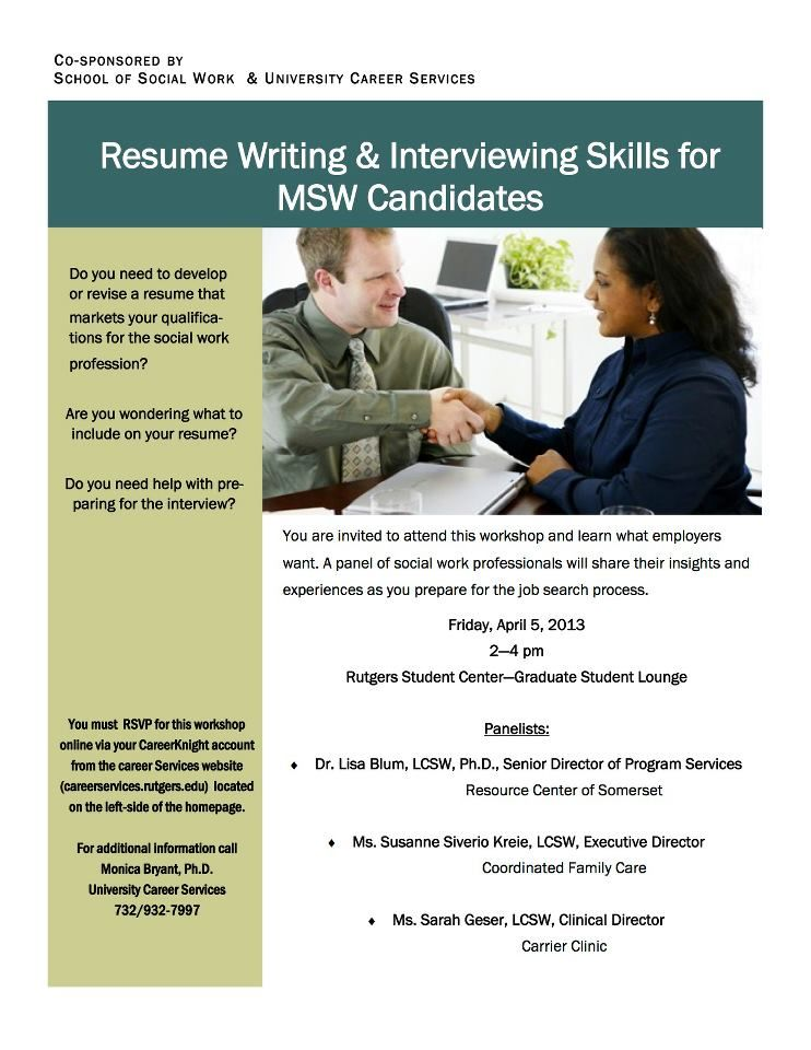 Career Services Resume Writing  Interviewing Skills for MSW