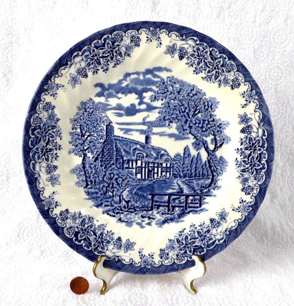 Plate Blue Transferware Queen's Brook Ironstone English