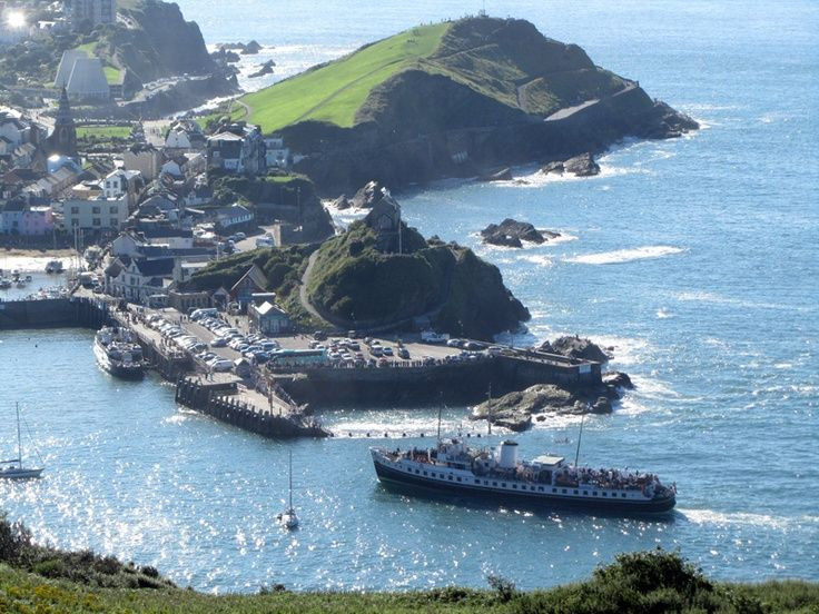 Stunning view of MV Balmoral approaching Ilfracombe Quay, North Devon, UK.