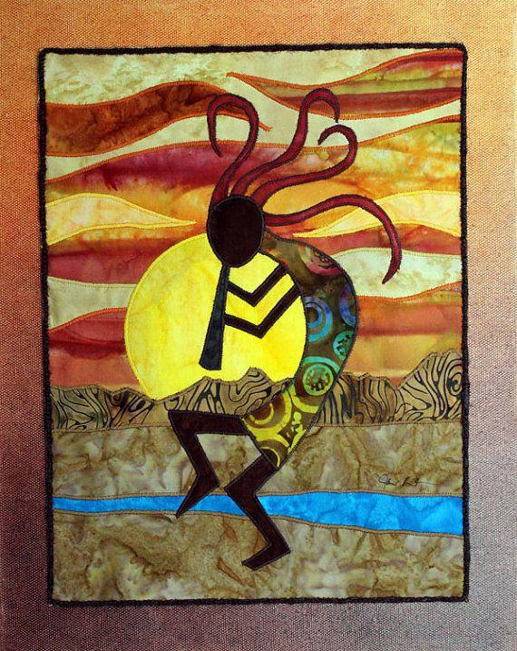 Kokopelli, Native American, Southwest art, Art quilt on canvas, Home ...