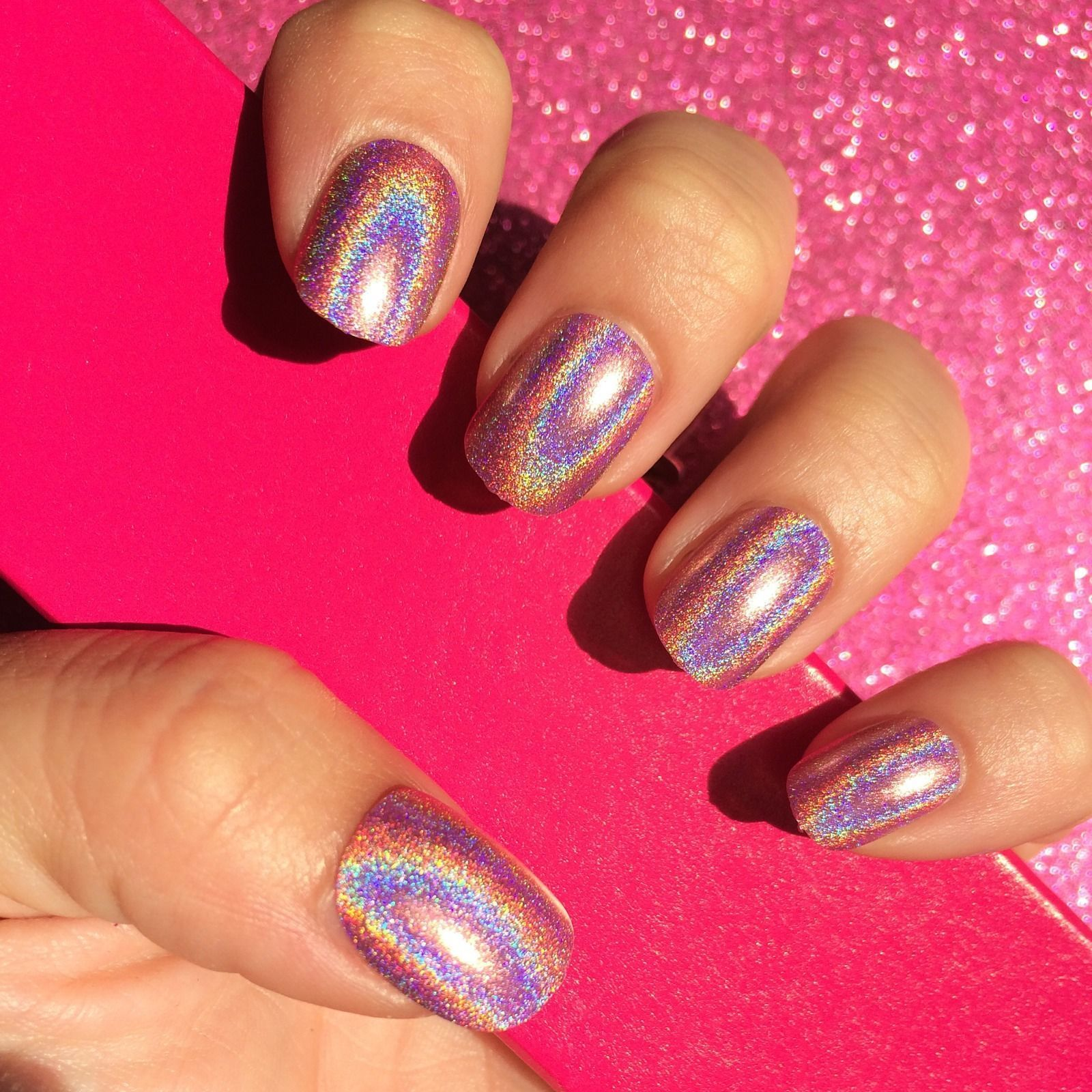 Short Press On Nails Holographic Pink Stick On Nails For Sale On Www Nailituk Co Uk