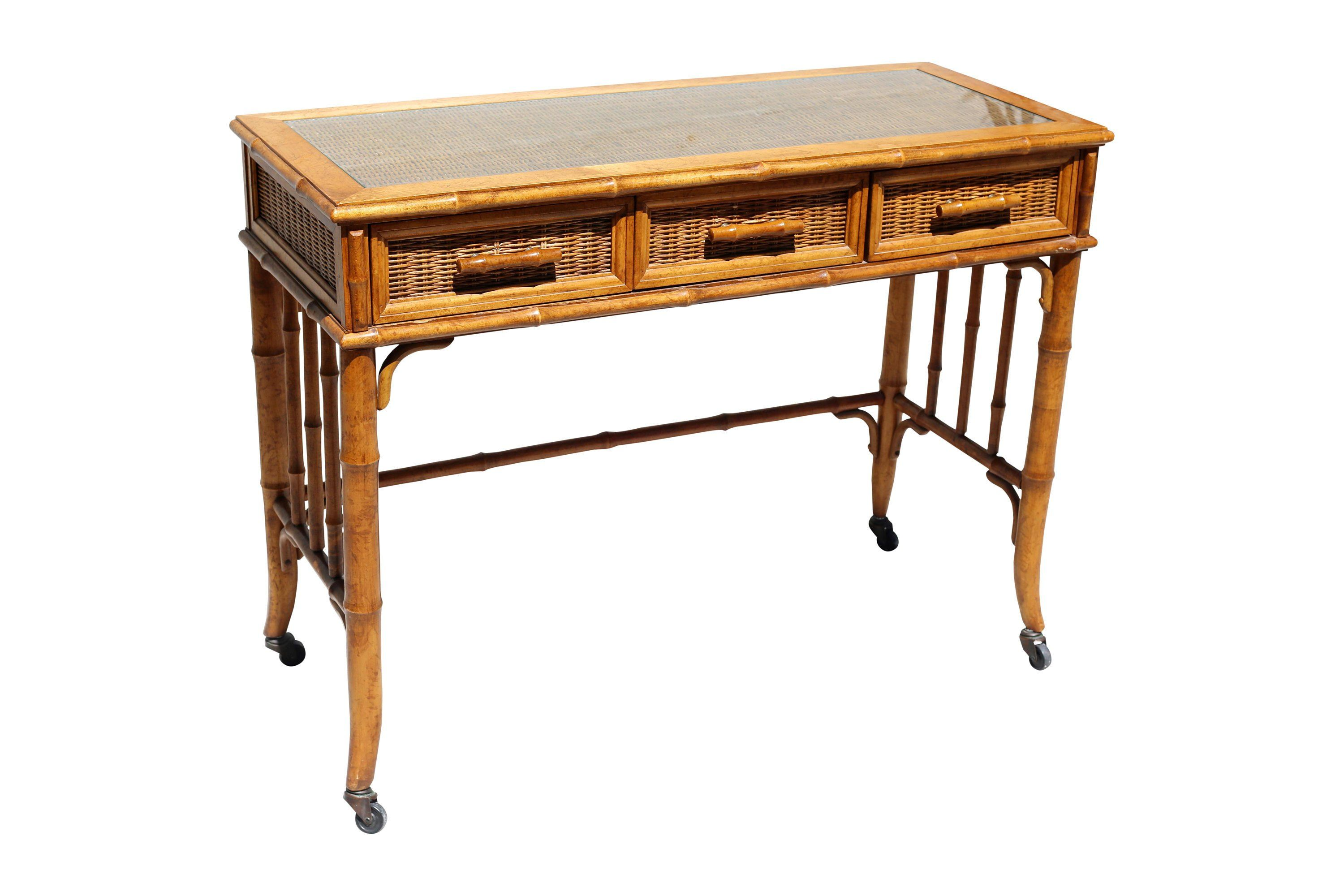 Vintage Wood Bamboo And Wicker Writing Desk With Drawers Glass Top And Casters Writing Desk With Drawers Vintage Wood Desk With Drawers