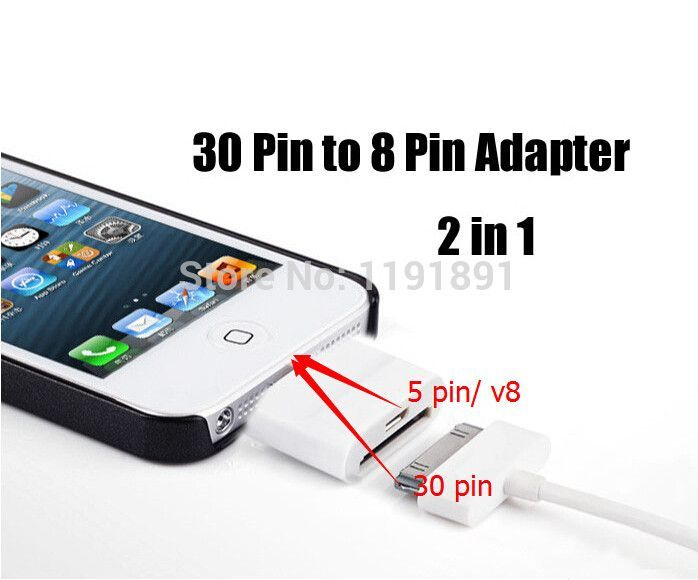 2 in 1 Adapters For iPhone 5/5S/5C to for iPhone 4/4s or Samung Micro USB V8; Adapter For IOS 7, 8 pin to 30 pin/V8;Color White