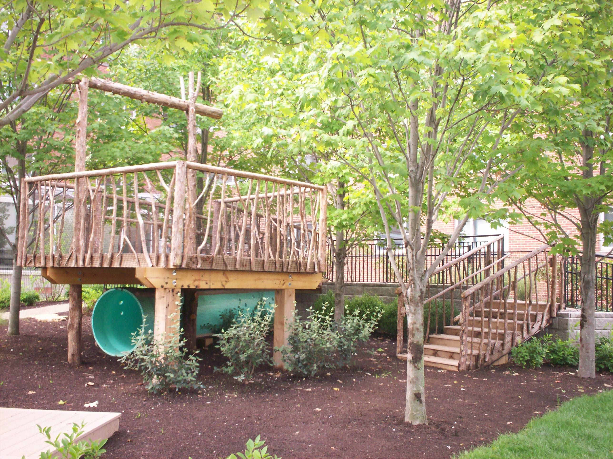 The tree house on the natural playscape at Arlitt. What a ...