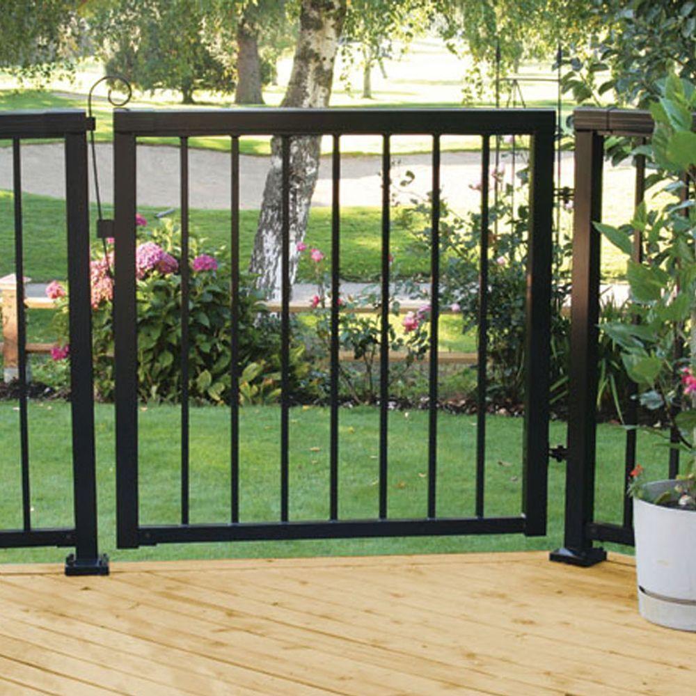 Peak Aluminum Railing 42 In X 40 In Black Aluminum Wide Picket Gate 50166 The Home Depot In 2020 Patio Gates Metal Garden Gates Aluminum Fence Gate