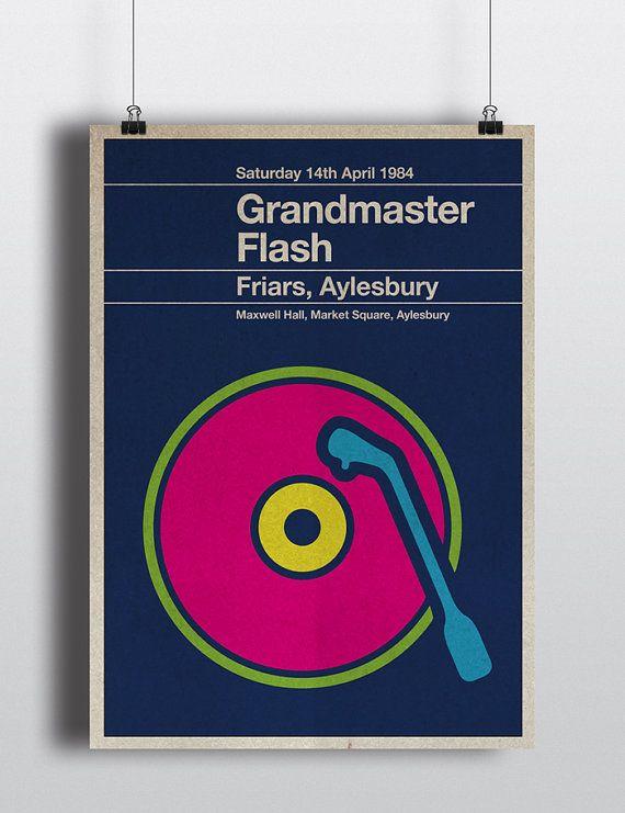 Grandmaster Flash miniposter  mid century / by TheStereoTypist, £10.00