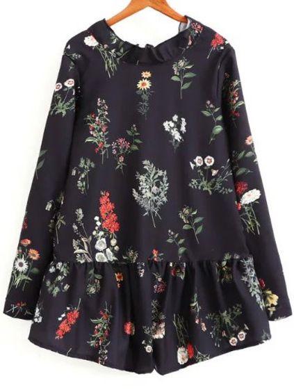 Black Floral Print Tie Back Romper
