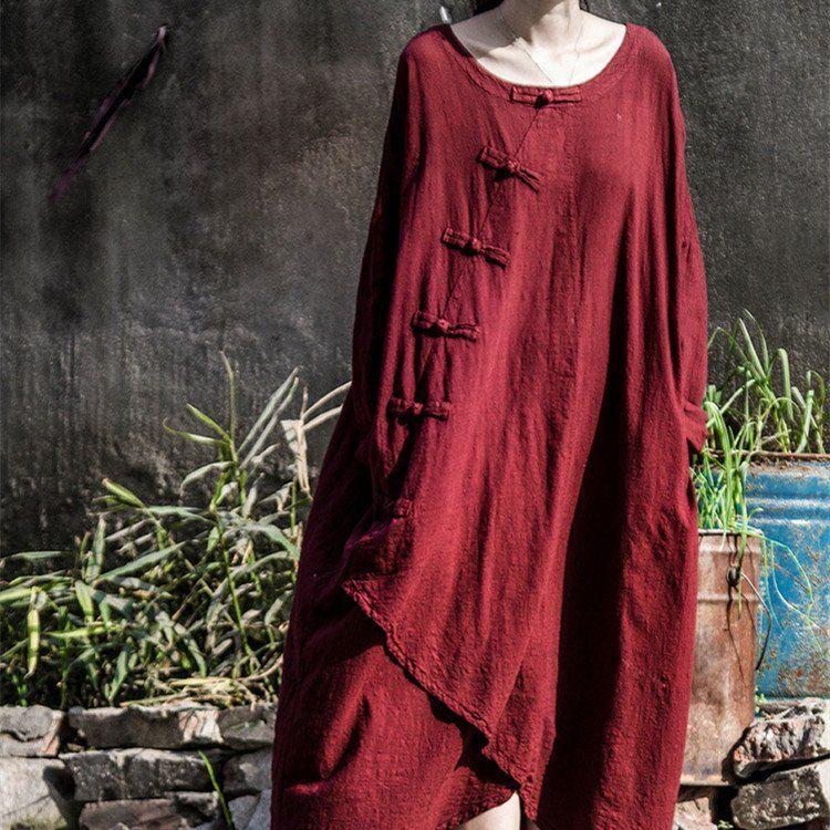 #dress  #fashion  #loose #large #Chinese #vintage #retro #elegant #amazing #trendy #chic #designer Retro button cotton linen loose irregular dress