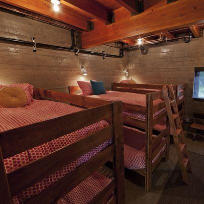 Rustic bunk beds.