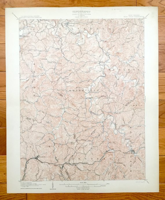 Antique West Union West Virginia 1905 Us Geological Survey Topographic Map Doddridge County Mcelroy Clay Grant Centerville Greenwood Topographic Map West Virginia West Union