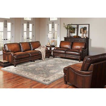 Langston 3-Piece Top Grain Leather Living Room Set | Library room ...