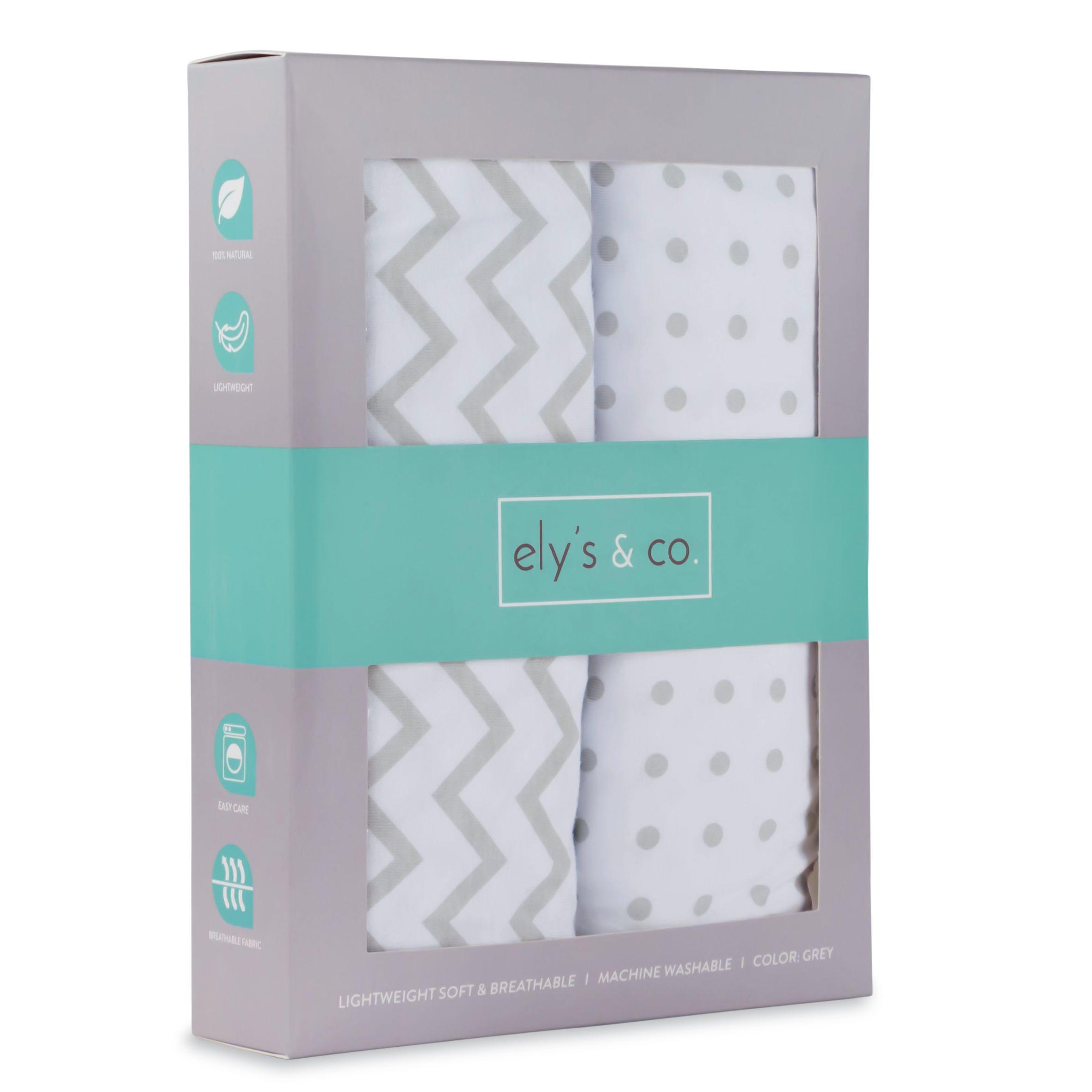 Ely's & Co Pack n Play/ Playard sheet set 2 pk (grey