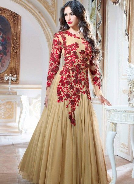 bb7638e5a4b Beige designer Indian evening party gown in net G15181